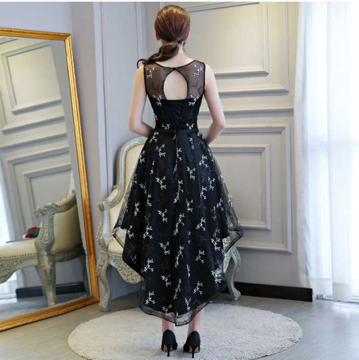 formal high low cut women's front short back long robe de coktail sexy dinner dress black size 8 dresses for party H4251