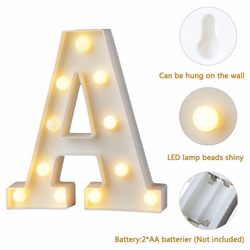 Letra blanca de plástico LED luz de noche luces con diseño de letras del alfabeto para carpa lámpara hogar Club al aire libre interior fiesta boda decoración del hogar