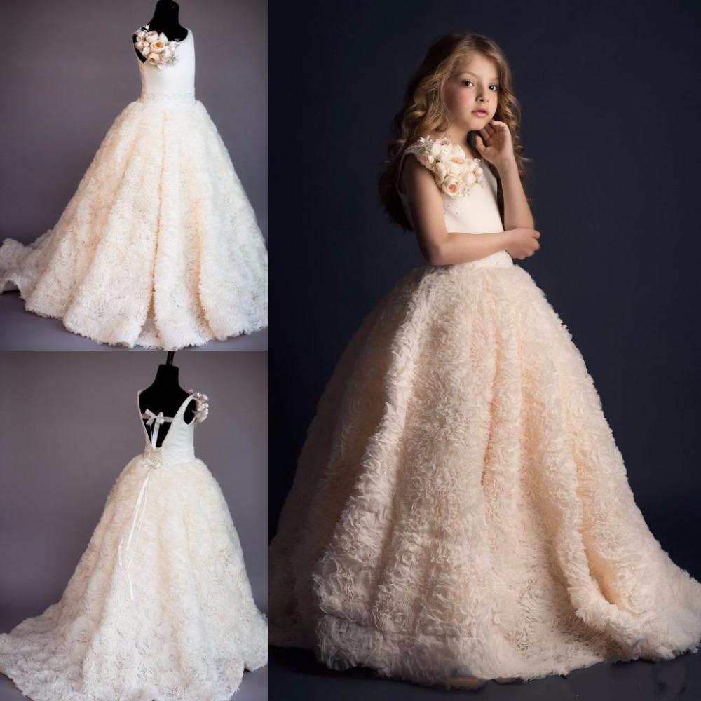 все цены на 100% Actual Image Ruffled Pink for Girls First Communion Dress Pageant Gowns Wedding Party Flower Girls Dress Custom Made онлайн