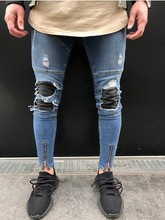 Black Jeans Biker 2017 Men Slim Fit Mens Work Pants Punk Zipper Spandex Camouflage High Quality Cotton Shorts Blue Denim 1848