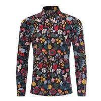 Tuxedo Shirt Floral Trawy Drukowane Męskie Party Bluzka Kolorowe Ubrania Gentleman Slim Bluzki Wiosna Wear Moda Blusa 2018 Nowy