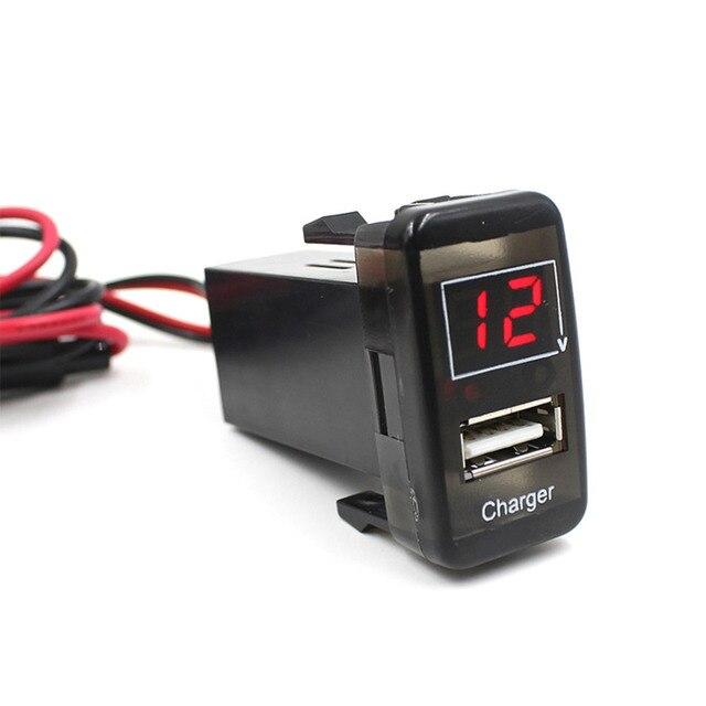 Автомобиль 5 В 2.1A USB Порт Приборной Панели Вольтметр Телефон Зарядное Устройство Для TOYOTA