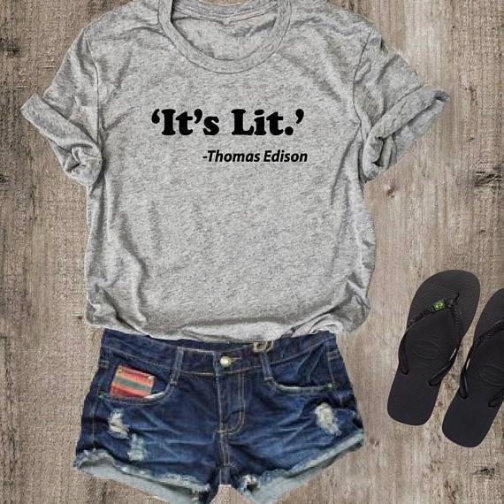 Discreet Het Lit T-shirt Tee Top Shirt Dames Unisex Crewneck T-shirt Gift Voor Haar/hem Grappige Mode T-shirt Casual Tops Tee Tumblr Tee Duurzame Service