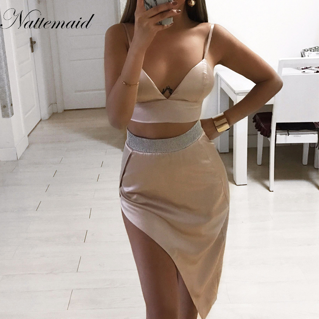 e641b853618eca NATTEMAID New fashion two pieces set women club wear clothing sexy crop tops  and pencil skirt