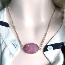 Natural Stone Quartz Pendant Necklace Colorful Irregular Resin Necklace Drusy Gold Color Stone Necklaces for Women Jewelry Gift(China)