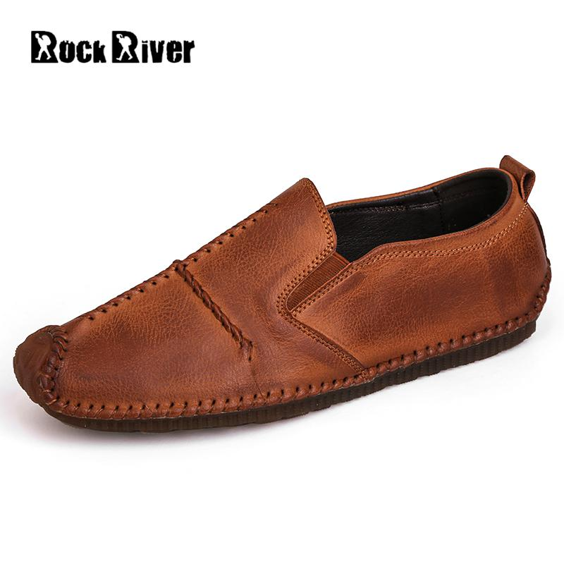 Retro Mens Shoes Casual Loafers Black Brown Italian Handmade Genuine Leather Shoes Men 2017 Spring/autumn Slip-on Men Shoes pl us size 38 47 handmade genuine leather mens shoes casual men loafers fashion breathable driving shoes slip on moccasins