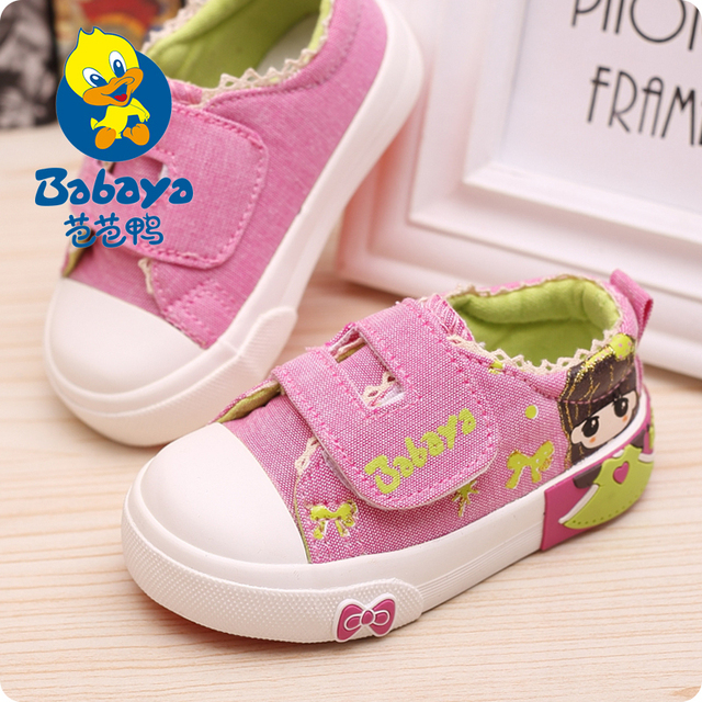 Brand casual design Spring new brand fashion prints low top flat canvas baby girls first walkers toddle shoes Children sneakers