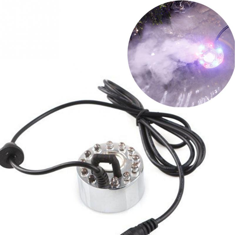 12LEDs Mist Maker Fogger Atomizer Air Humidifier 25W 300ml/h EU/US Plug Water Fountain Pond Fog Machine