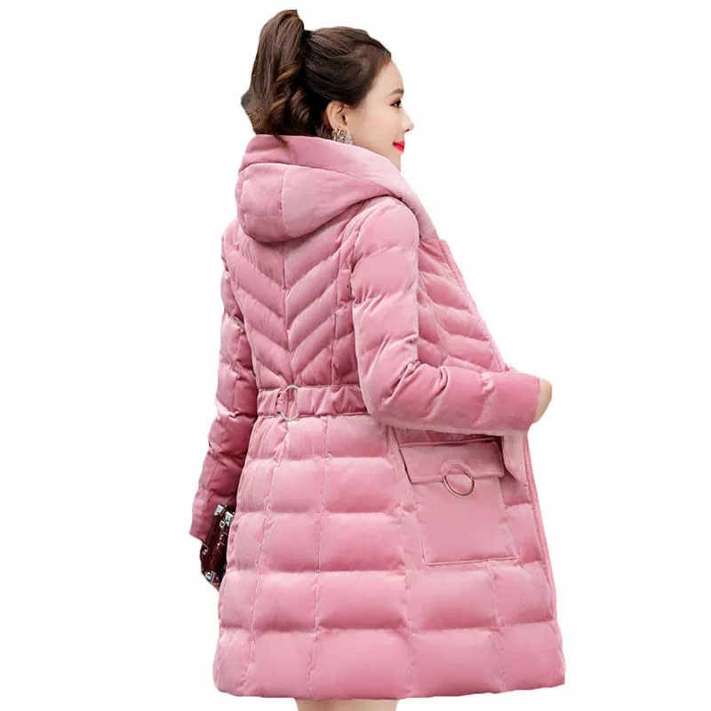2864f272d Winter Women Parkas Gold Velvet Cotton Padded Jacket 2019 Hooded Warm  Cotton Coat Women Slim Thick Coat Winter Down Jacket LJ20