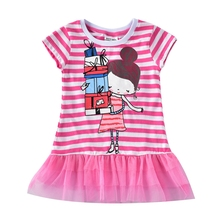 Girls Short Sleeve Lace Dress Summer Baby Wear New Print Girl Figure for Casual Crew H7107