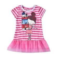 все цены на Girls Short Sleeve Lace Dress Summer Girls Baby Wear New Print Girl Figure Short Sleeve Dress for Girls Casual Crew Dress H7107 онлайн