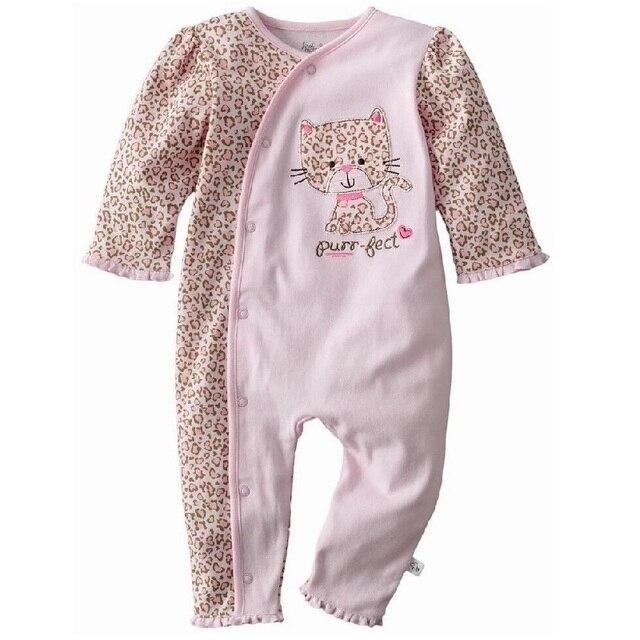 aa6836166756b Léopard bébé filles vêtements Bebe barboteuses 100% coton 0-3 6 9 12 mois