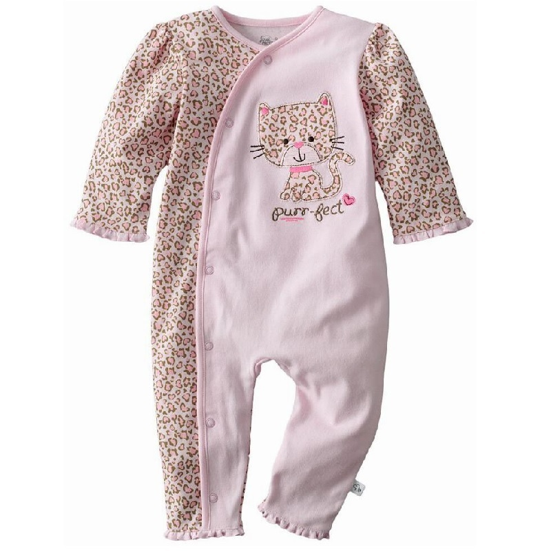 Leopard Baby Girls Clothes Bebe Rompers 100% Cotton 0-3 6 9 12Month Pajamas Romper bebe Roupas jumpsuit Newborn Underwear Soft brand 100% cotton new 2017 ropa bebe newborn baby girls clothing clothes romper creeper jumpsuit short sleeve baby girls rompers