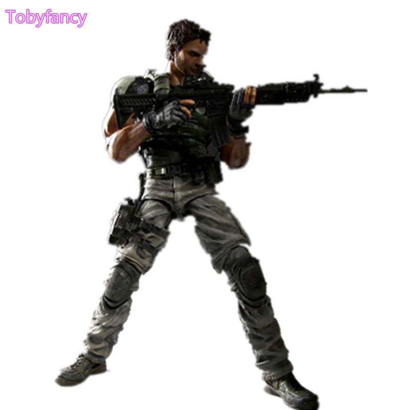 цена Resident Evil Action Figure Chris Play Arts Kai Biohazard 5 PVC Toy 25cm Anime Model Resident Evil Playarts Kai Toys