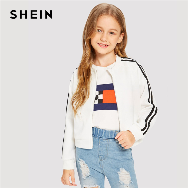 Фото - SHEIN Kiddie Stand Collar Zipper Front Striped Trim Bomber Girls Jacket Coat Kids Clothes 2019 Spring Casual Jacket For Teenager plus open front vertical striped kimono
