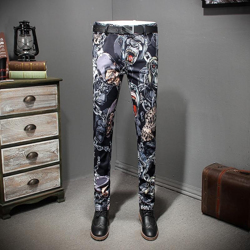 Fashion Designer Print Men Trousers Fancy Stylish Mens Pant Pantaloni Uomo Casual Pantalon Homme Slim 2018 Erkek Pantolon