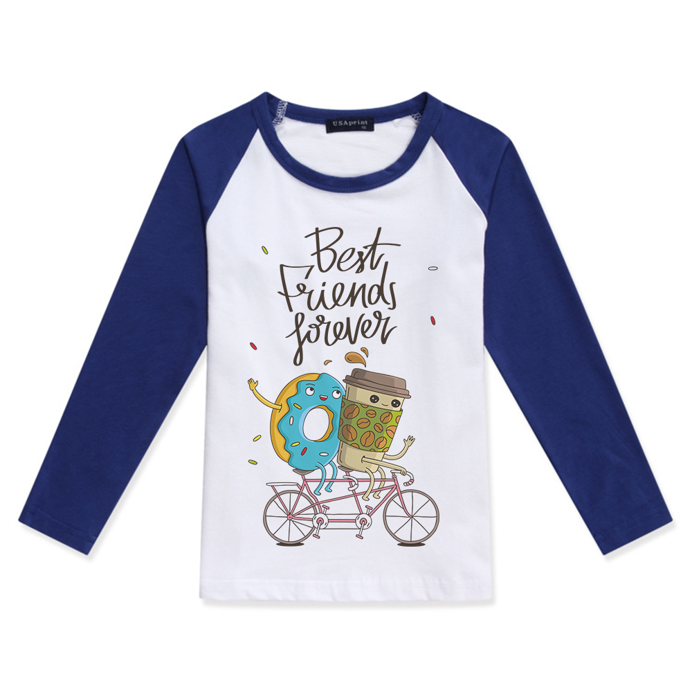 2019 Boys Long Sleeve Top Girl T <font><b>Shirt</b></font> Children Clothing Cotton O-Neck Boy Creative Design <font><b>Best</b></font> <font><b>Friend</b></font> Food Print <font><b>Kids</b></font> T-<font><b>Shirts</b></font> image