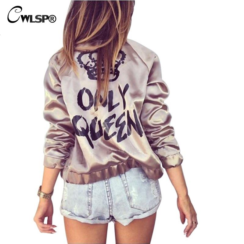 CWLSP Fashion Satin Silk Women Coats Gold Bomber Jacket Back ONLY QUEEN Crown Letter Print Outerwear Streetwear chaqueta mujer