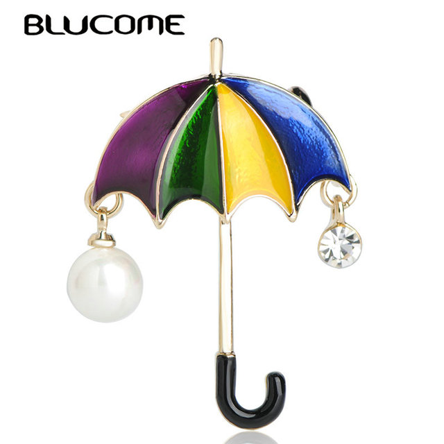 Blucome Cute Rainbow Umbrella Shape Brooches Simulated Pearls Enamel Alloy Jewelry Sweater Clothes Accessories Women Kids Gifts