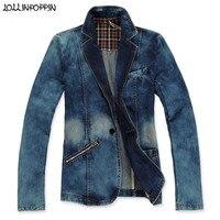 Men Retro Denim Blazer Notched Lapel Bleached Jean Jacket Zippered Pocket Mens Single Button Blue Jean Blazers Casual