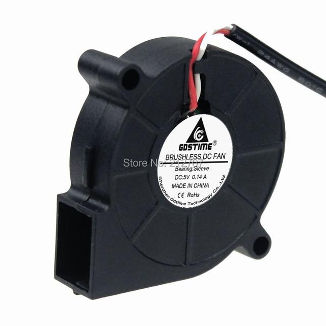 10 pièces Gdstime petit 5015S 5V USB 50MM x 15MM Turbo ventilateur de refroidissement cc sans balais