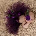 Newborn fotografía atrezzo bebé girls purple peacok feather skirt foto apoyos conjuntos tutú + flor de la venda del bebé sesión de fotos