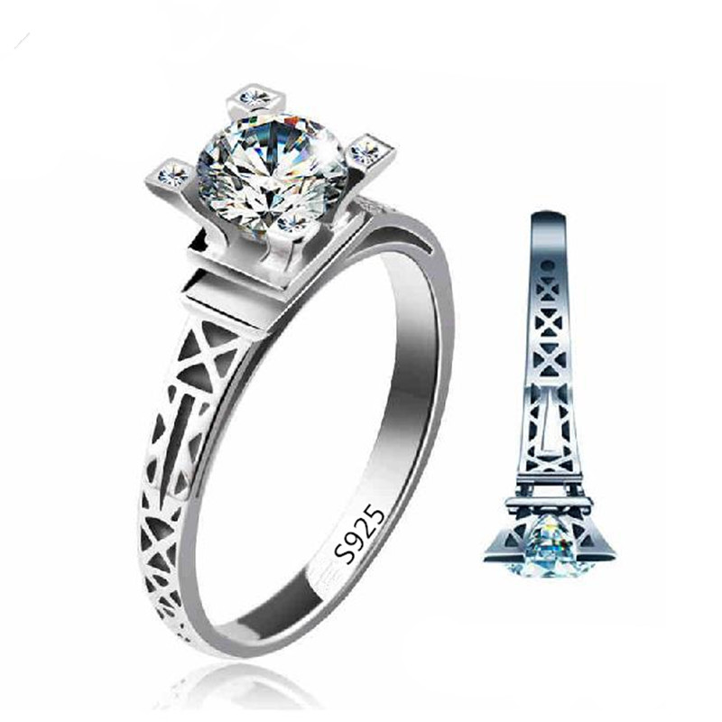 Eiffel Tower Ring White Gold Colour CZ Stone Jewelry Cheap Wedding Rings For Women Vintage Bijoux