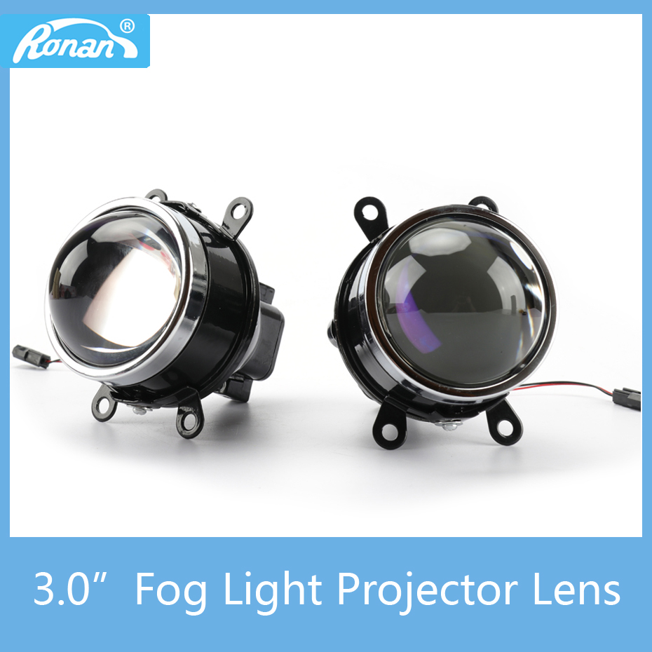 3.0 Blue Coated HD glass Fog Light for auto retrofit Projector Lens Car Styling HID Bi-xenon for H8 H9 H11 adapter Lamps fog light lens for ford 2 5 full metal bi xenon projector lens auto h11 fog light