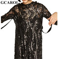 GCAROL 2017  Women Standard Collar Sequined Dress Back Hollow Out Sexy Party Two Pieces Dress Tie Up Spring Early Summer Dress