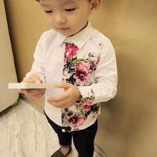 Осенняя белая блузка для маленьких девочек; топ для мальчиков; одежда из хлопка; элегантная рубашка с длинными рукавами и цветочным принтом; Детская летняя повседневная рубашка
