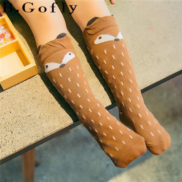 08d1f87be 1 Pair Lovely Cute Cartoon Pusheen Cat Fox Kids baby Socks Knee Girl Boy  Baby Toddler