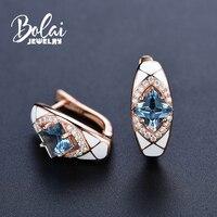 Bolai elegant london blue topaz stud earrings 925 sterling silver created gemstone jewelry white enamel clasp wedding earring