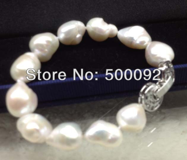 12-14mm cultured freshwater Baroque pearl bracelet Free shipping