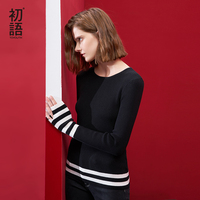 Toyouth Knitted Sweater 2017 Autumn Women Striped Contrast Color O Neck Long Sleeve Split Slim Fit