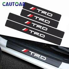 4 pçs estilo do carro de fibra carbono protetor do peitoril da porta do carro adesivo decalque para toyota crown corolla reiz trd racing logotipo acessórios