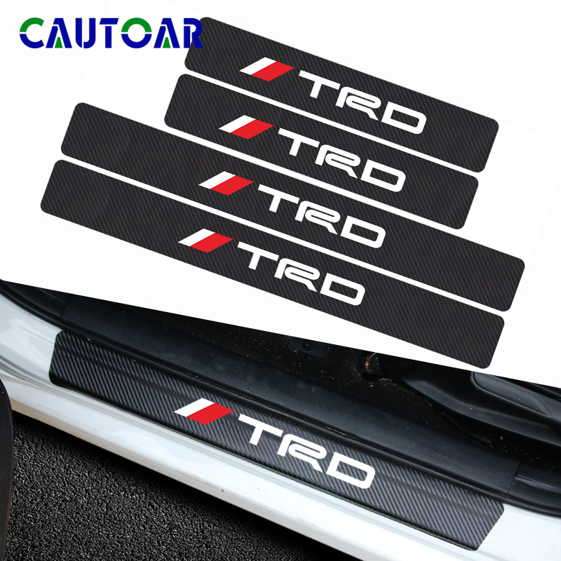 4Pcs Car Styling Carbon Fiber Car Door Sill Protector Sticker Decal For Toyota CROWN COROLLA REIZ TRD Racing LOGO Accessories