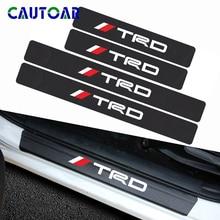 Protector de alféizar de puerta de coche con estilo de fibra de carbono de 4 Uds pegatina para Toyota CROWN COROLLA REIZ carreras TRD LOGO Accesorios