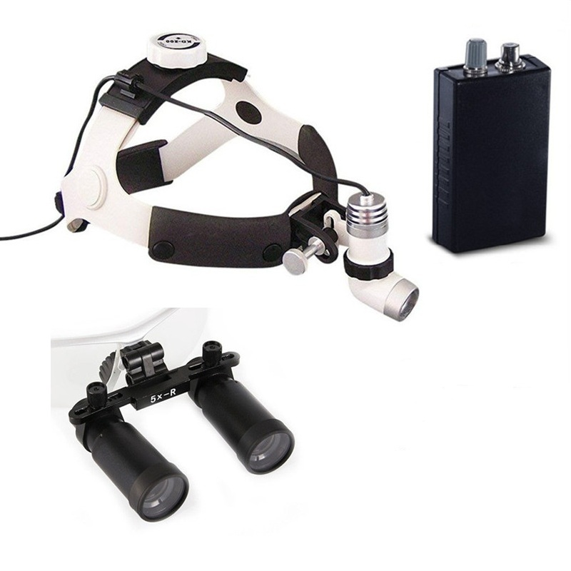 Medical Binocular Loupe 4 0 5 0 6 0X Magnifier Dental Surgical Loupe 3W LED Medical Headlight Headlamp in Magnifiers from Tools
