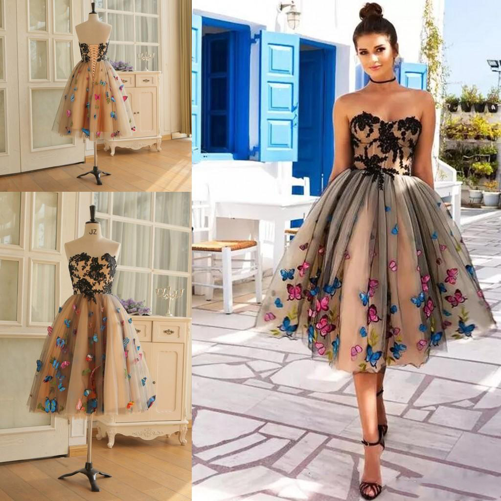 Real Images Knee Length   Prom     Dresses   Colorful Butterfly Sweetheart Lace Appliques Cocktail Party   Dress   Lace Up Back Formal Gowns