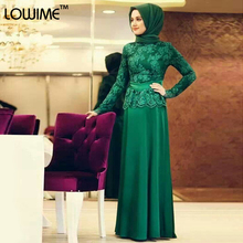 Muslim Arabic Appliques Green Evening Dress Long Sleeve Prom Dresses With HiJab vestido de festa Custom