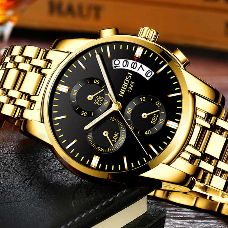 NIBOSI Mens שעוני יוקרה מותג צבאי ספורט שעון זהב גברים עסקי שעוני יד הכרונוגרף קוורץ שעונים Relogio Masculino