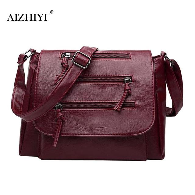 Women Pu Leather Messenger Bag Casual Chain Shoulder Handbags Sling Crossbody For Female Las