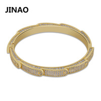 JINAO New Iced Out Bling Cubic Zircon Hip Hop Gold Silver Circular Bracelets Spike Bangles Gifts for Men Women