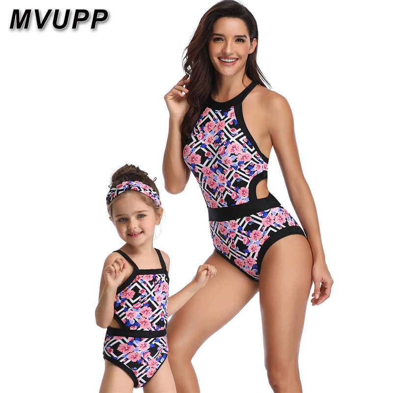 df138aedb7 One piece mommy and me floral swimsuit mother daughter family look clothes  matching outfits for mom