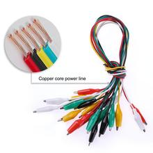 10 PCS 50 CM Electrical Clips Test Line Cable Test Clamp Connector Copper Core Double-Ended Testing Wire For Testing Probe Meter electrical probe testing lead wire hooks yellow 20 pack