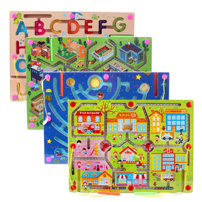 Wooden Maze Magnetic Game Puzzle Toys For Children Kids