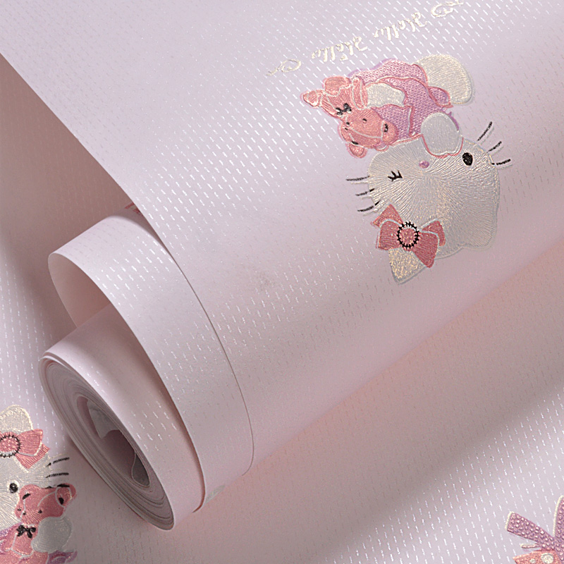 Cute Cartoon Wall Papers Home Decor Non woven Pink Blue Cat Wall Paper Roll for Kids Boy and Girls Bedroom Walls Papel Mural in Wallpapers from Home Improvement