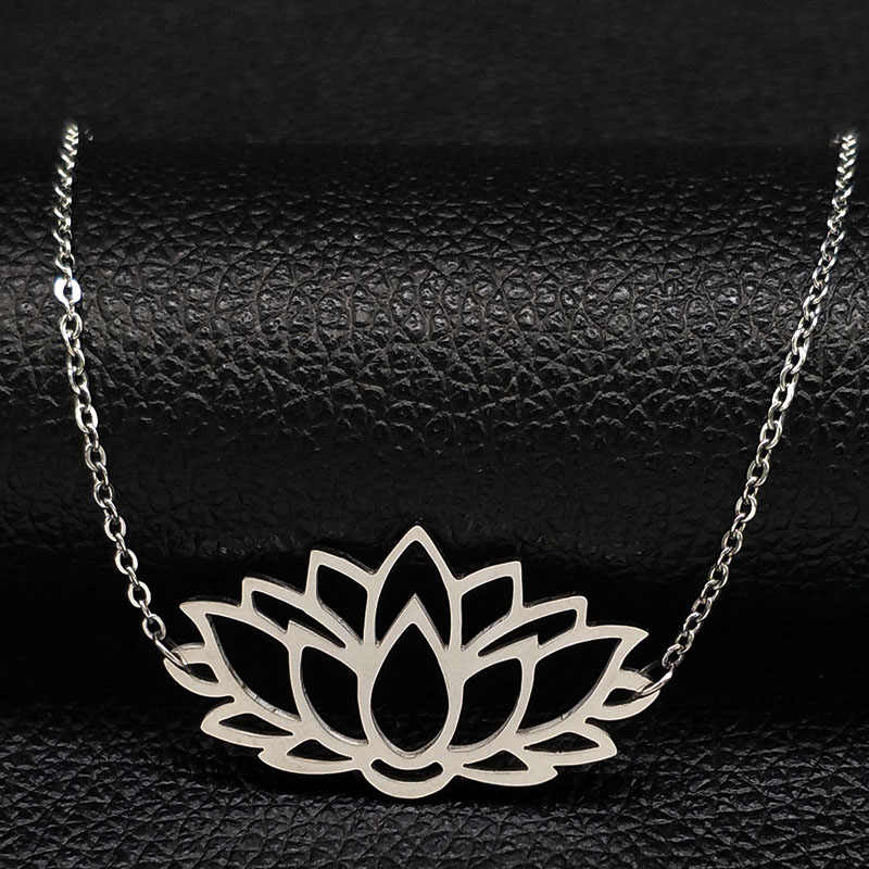 2019 Lotus Stainless Steel Statement Necklace for Women Silver Color Statement Necklace Jewelry flor de loto collar mujer N18059