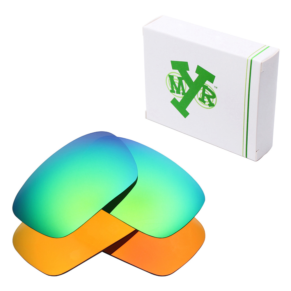 98a40e70b5 2 Pairs Mryok POLARIZED Replacement Lenses for Oakley Badman Sunglasses Fire  Red   Emerald Green