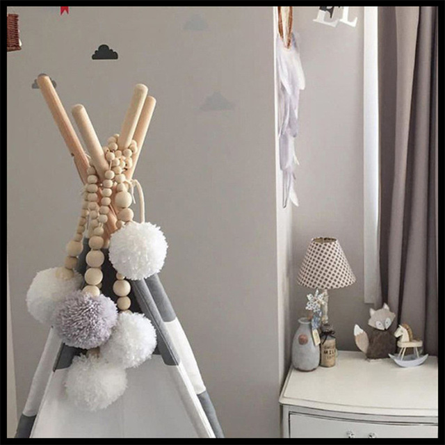 Nordic Wooden Bead Tassel Wall Hanging Decoration Kids Room Tent Hanging  Hairball Decorative Children Bedroom Photography